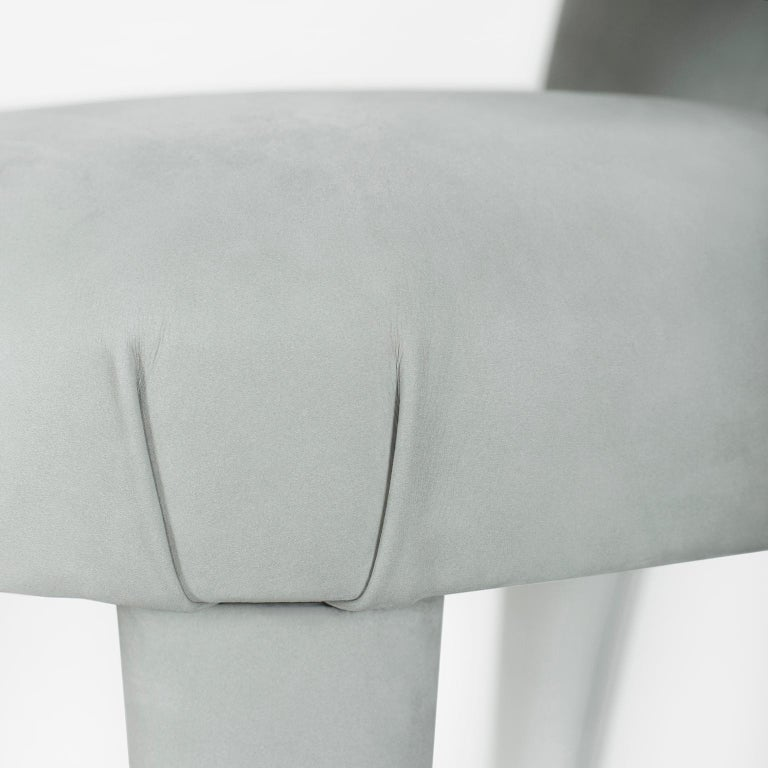 21st Century Modern Laurence Chair with Armrests Nubuck Handcrafted Greenapple For Sale 7