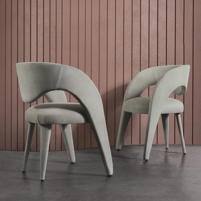 21st Century Modern Laurence Chair with Armrests Nubuck Handcrafted Greenapple For Sale 8