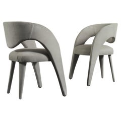 Laurence Chair with Armrests Wood Italian Nubuck Leather Grey Green