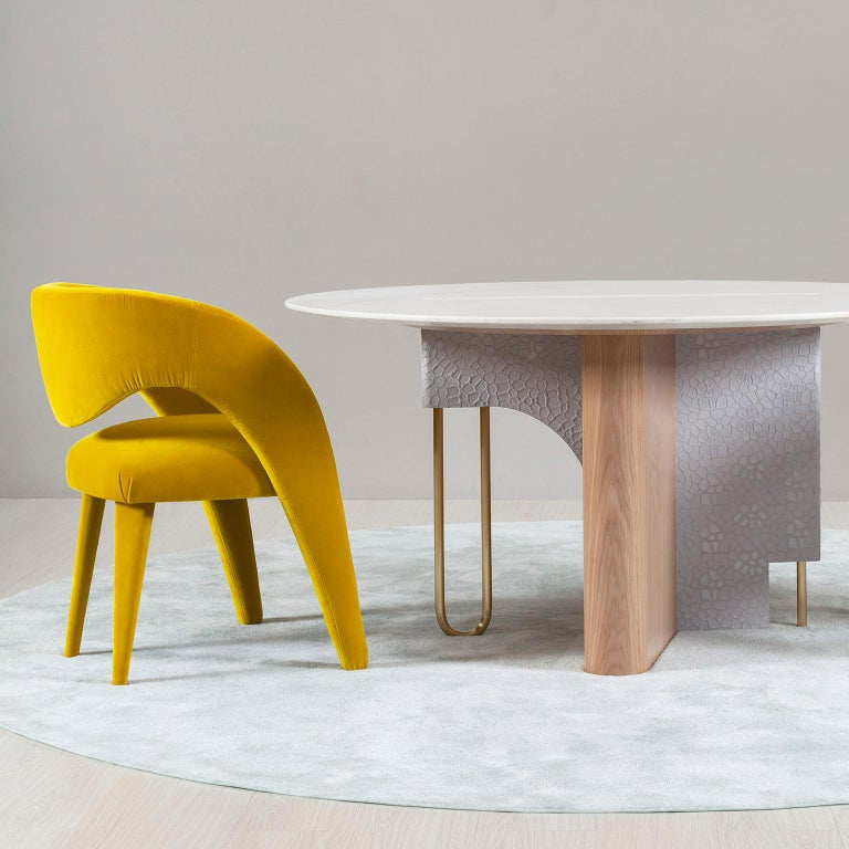 21st Century Contemporary Modern Laurence Chair with Armrests Yellow Velvet Handcrafted in Portugal - Europe by Greenapple.   Laurence Chair Materials Wooden chair with armrests fully upholstered in yellow cotton velvet.  Laurence Chair With