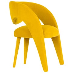 Laurence Chair with Armrests Wood Yellow Cotton Velvet