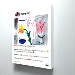 Basquiat small painting of colorful flowers by Laurence de Valmy. In stock.