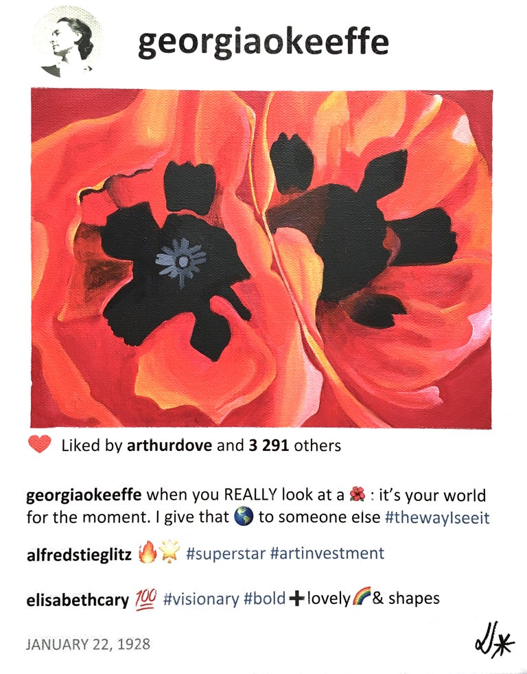 Small painting of red flower inspired by Georgia O'Keeffe. In stock. - Pop Art Painting by Laurence de Valmy