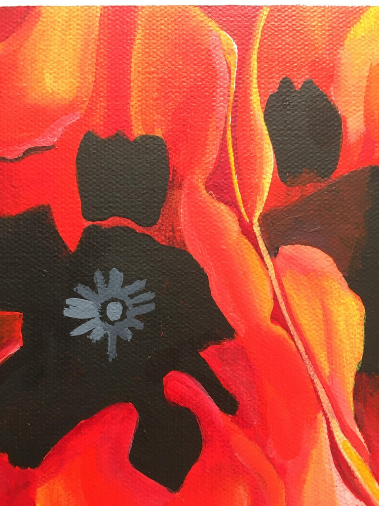 Small painting of red flower inspired by Georgia O'Keeffe. In stock. 1