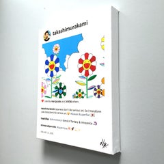 Cartoon style small painting of colorful flowers smiling. In stock.