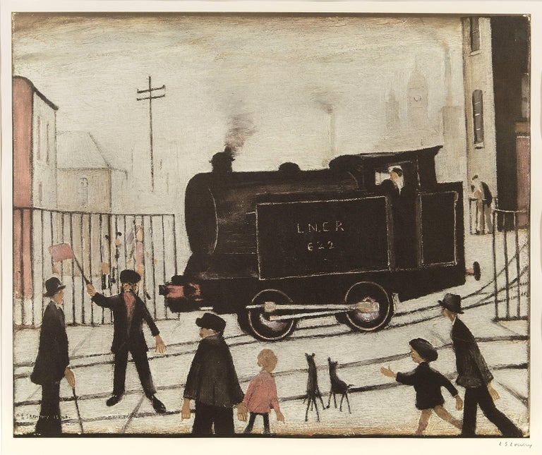 Level Crossing with Train (Print) - Beige Figurative Print by Laurence Stephen Lowry