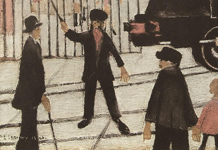 This is a print of a beautiful scene by L. S. Lowry is from the later period in the artist's life when he had become highly recognised. Lowry would often portray these figures in a simplistic and somewhat humorous manner. He insisted his work was
