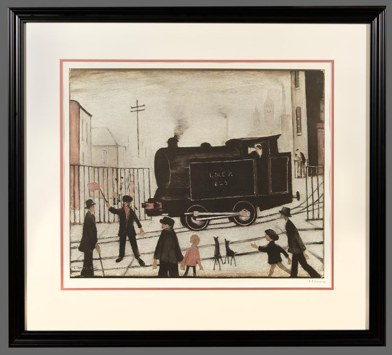 Laurence Stephen Lowry Figurative Print - Level Crossing with Train (Print)