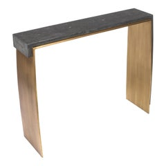 Laurens Console Table in Black Shagreen & Bronze-Patina Brass by R&Y Augousti