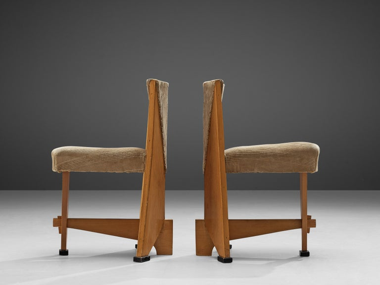 Dutch Laurens Groen Pair of Art Deco Side Chairs in Birch and Fabric Upholstery, 1924