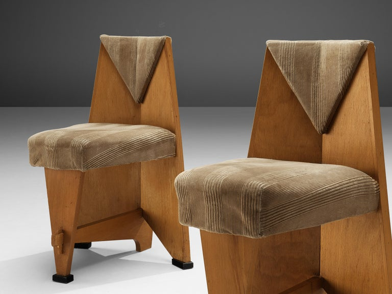 Laurens Groen Pair of Art Deco Side Chairs in Birch and Fabric Upholstery, 1924 In Good Condition In Waalwijk, NL