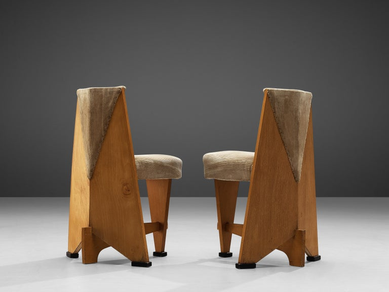 Laurens Groen Pair of Art Deco Side Chairs in Birch and Fabric Upholstery, 1924 3