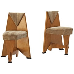 Laurens Groen Pair of Art Deco Side Chairs in Birch and Fabric Upholstery, 1924