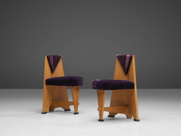 Laurens Groen for H.H. de Klerk & Zoonen, pair of side chairs, birch, purple fabric upholstery, the Netherlands, 1924  These chairs by Dutch designer Laurens Groen have a striking, well-documented provenance. In the style of the Amsterdam School a