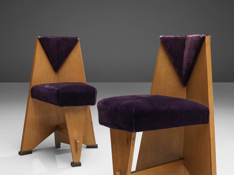 Dutch Laurens Groen Pair of Art Deco Side Chairs in Birch and Purple Fabric, 1924
