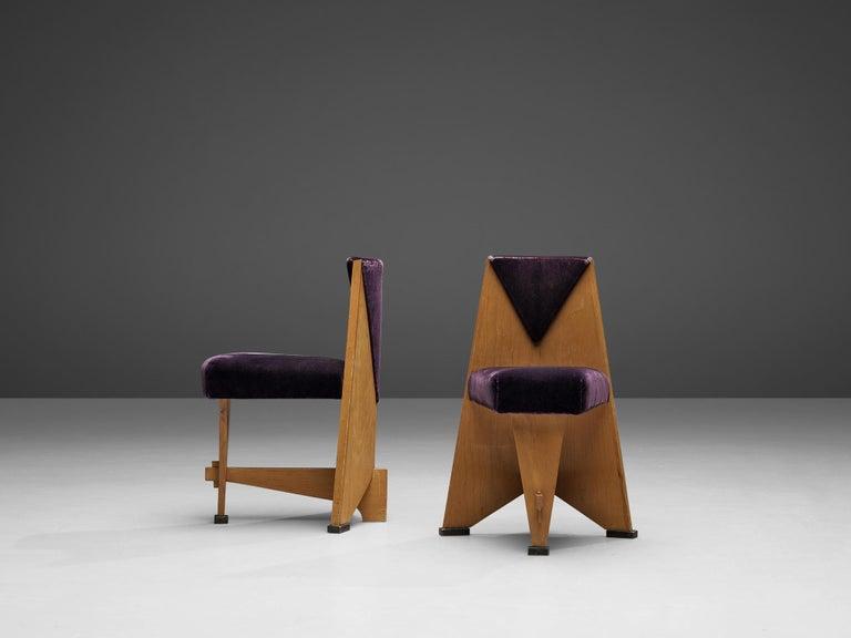 Laurens Groen Pair of Art Deco Side Chairs in Birch and Purple Fabric, 1924 In Good Condition In Waalwijk, NL