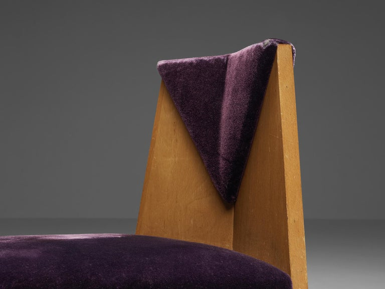 Early 20th Century Laurens Groen Pair of Art Deco Side Chairs in Birch and Purple Fabric, 1924