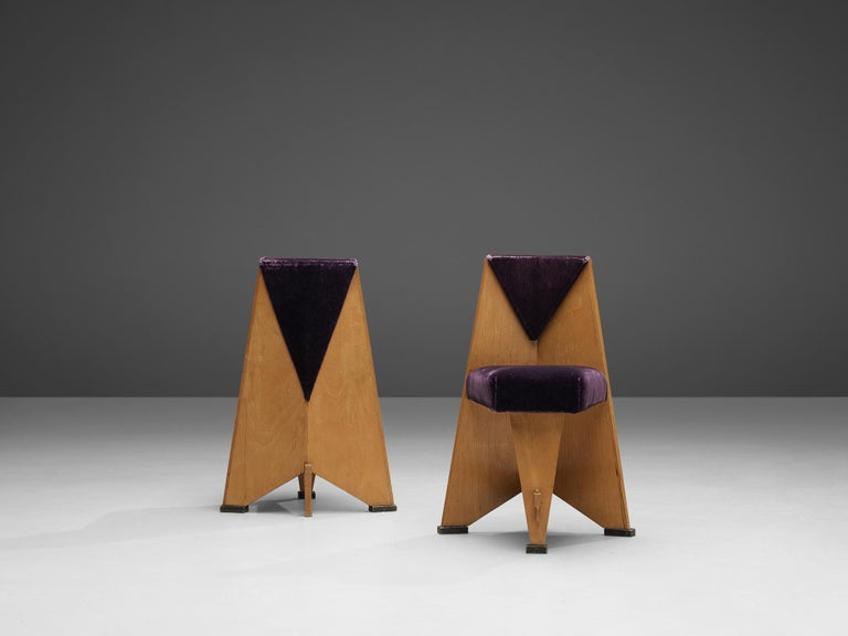 Laurens Groen Pair of Art Deco Side Chairs in Birch and Purple Fabric, 1924 1