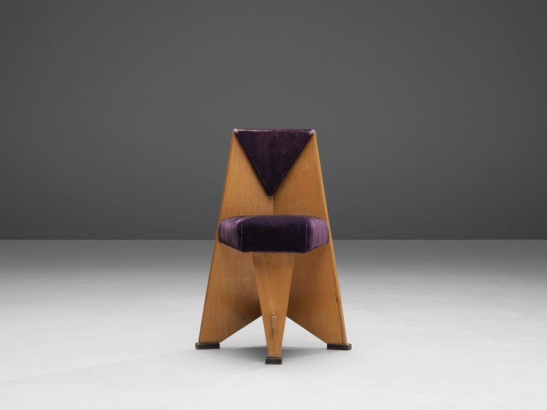 Laurens Groen Pair of Art Deco Side Chairs in Birch and Purple Fabric, 1924 2