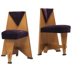 Laurens Groen Pair of Art Deco Side Chairs in Birch and Purple Fabric, 1924
