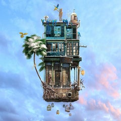 Bird charmer - Contemporary whimsical digital photo montage of a flying house