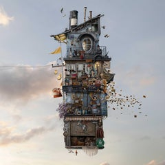 Bricabrac - Contemporary whimsical digital color photo of Parisian flying house