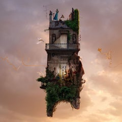 Crepuscule - Contemporary whimsical digital photo montage of a flying house