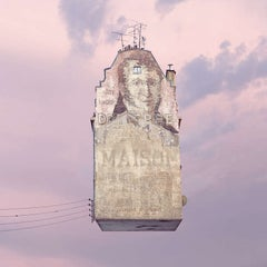 Dr Pierre - Digital pale pink, beige contemporary photograph of a Parisian house