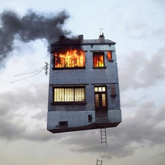 On Fire - Digital Contemporary Color Photograph Parisian Flying House