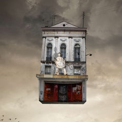 Show - Digital contemporary photograph of a Parisian theater with white mime