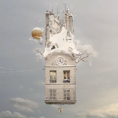 Solstice - Contemporary whimsical white digital color photo of a flying house