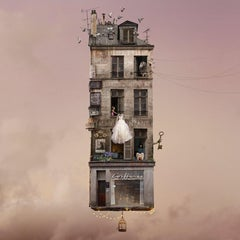 Big Day- Contemporary whimsical digital color photo of a Parisian flying house