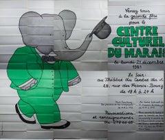 1981 Laurent De Brunhoff 'Culture Center Le Marais' Advertising Gray,Green,Black