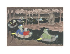 """Laurent de Brunhoff-Babar in the Cave of the Mamouth-22.75"""" x 29.5""""-Serigraph"""