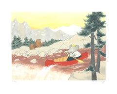 """Laurent de Brunhoff-Babar In the Wilderness-23.5"""" x 29.5""""-Serigraph-1994-Brown"""