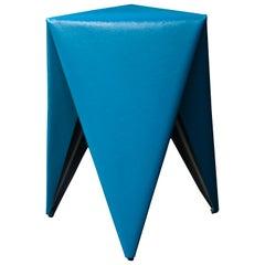 Laurent Dif Contemporary Geometric Blue Leatherette Steel 'Tripy' Stool, Spain