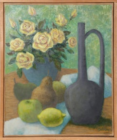 Flacon Vert, Roses, Jaunes et Fruits