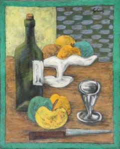 Vin et Pommes, Oil Painting by Laurent Salinas circa 1952