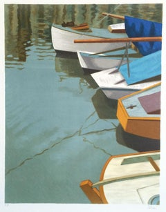 BOATS AT HONFLEUR, Normandy France, Signed Lithograph, Historic Port