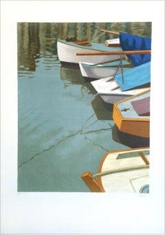 BOATS AT HONFLEUR Normandy France, Signed Lithograph, Historic Port, Sailboats