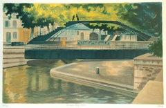CANAL SAINT-MARTIN, Hand Drawn Lithograph, French Landscape Historic Paris Canal