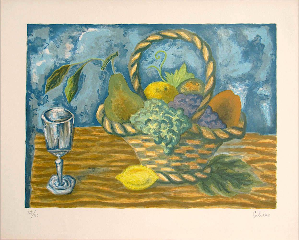 FRUIT BASKET Signed Lithograph, Interior Still Life, Lemon Yellow, Blue, Brown