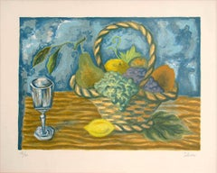 FRUIT BASKET Signed Lithograph, Interior Still Life, Lemon Yellow, Blue, Brown
