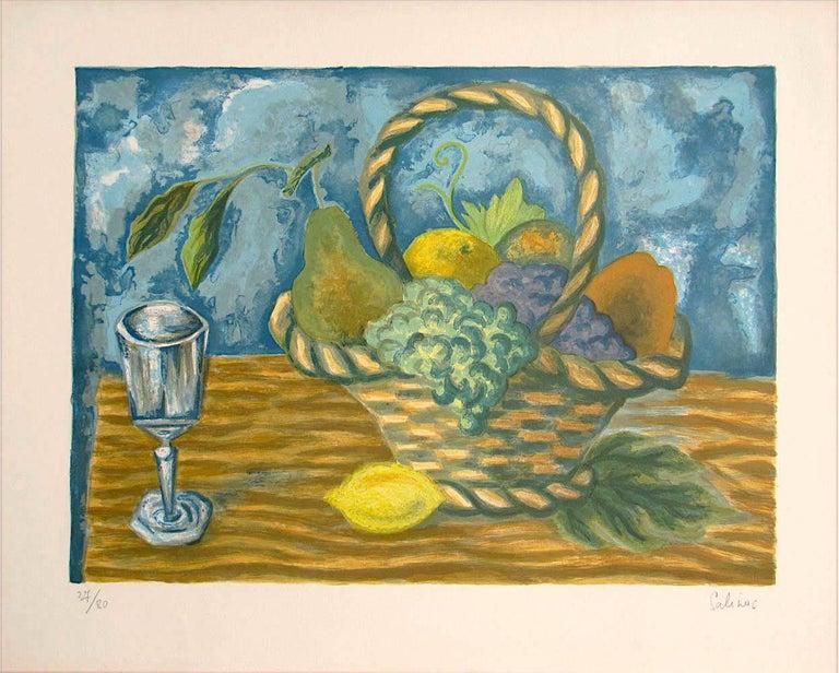 Laurent Marcel Salinas Still-Life Print - FRUIT BASKET Signed Lithograph, Interior Still Life, Lemon Yellow, Blue, Brown