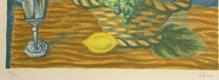 FRUIT BASKET Signed Lithograph, Interior Still Life, Lemon Yellow, Blue, Brown - Realist Print by Laurent Marcel Salinas