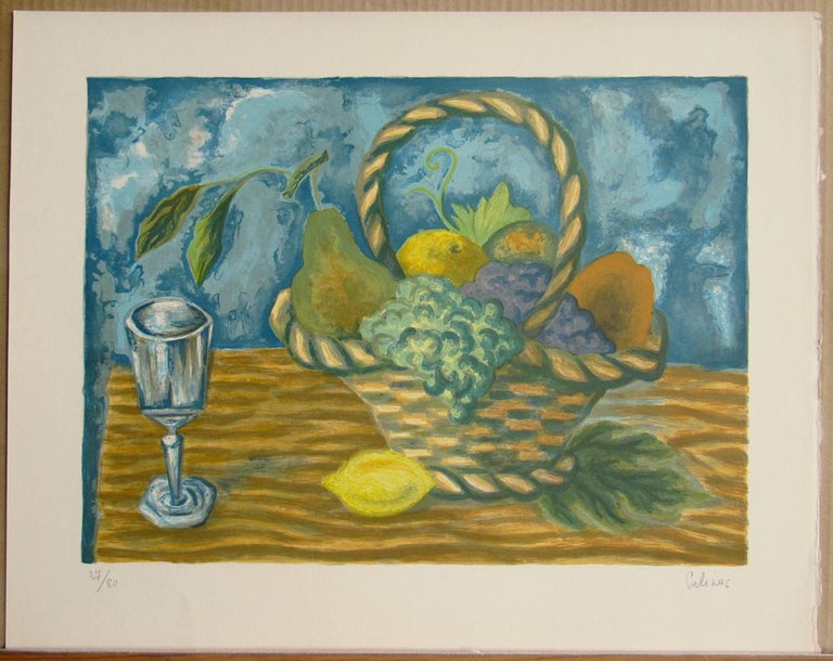 FRUIT BASKET is an original hand drawn lithograph by the Egyptian French artist Laurent Marcel Salinas printed using hand lithography techniques on archival Arches printmaking paper. FRUIT BASKET is an interior still life composition comprised of a