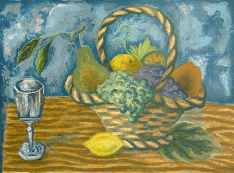 FRUIT BASKET Signed Lithograph, Interior Still Life, Lemon Yellow, Blue, Brown - Print by Laurent Marcel Salinas