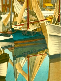 SUMMER DAY HONFLEUR Signed Lithograph, Boats, Historic Port Normandy France