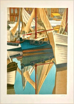 SUMMER DAY HONFLEUR Signed Lithograph, Sail Boats, Historic Port Normandy France