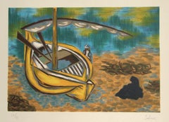 YELLOW BOAT Hand Drawn Lithograph, Sail Boat Landscape, Turquoise Water